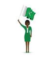 pakistan flag waving woman vector image vector image