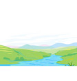 river in green valley panorama vector image vector image