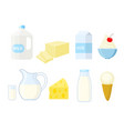 set of different dairy products in a flat stule vector image vector image