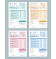 Set of Invoice Design Templates Gren Orange Red vector image