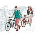 Sightseeing Girl and Guy Biking Around vector image vector image