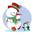 snowman in a red top hat and in a green scarf runs vector image vector image