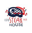 steak house logo template estd 1968 vintage label vector image vector image