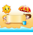 summer kids holding a paper scrolls with sun smili vector image