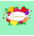 Summer lettering in frame of fruits and berries vector image
