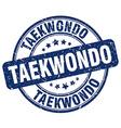 taekwondo blue grunge round vintage rubber stamp vector image vector image