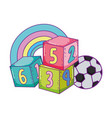 toys cube blocks football ball cartoon vector image