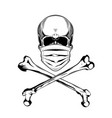 vintage monochrome skull in protective mask vector image vector image