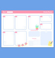 weekly planner template appointments and tracker vector image vector image