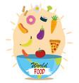 world food day falling vegetable fruit diet vector image vector image