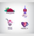 set of restaurant cafe coffee wine vector image