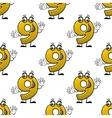 Seamless cartoon number nine characters pattern vector image