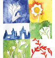 Watercolor abstract nature cards vector image