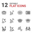 12 receiver icons vector image vector image