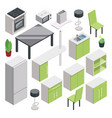 3d room design isometric furniture set for vector image