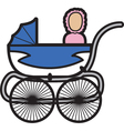 Baby in a pram vector image vector image