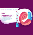 banner digital mail messenger landing page vector image