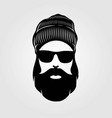 bearded men in knit hat hipster face vector image vector image