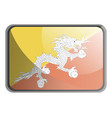 bhutan flag on white background vector image vector image