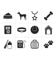 Black dog accessory and symbols icons vector image vector image