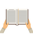 book with hands vector image vector image