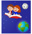 Boy and girl flying on a book vector image vector image