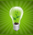 bulb with green sprout sunburst background vector image vector image