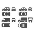 car top side and front view vehicle projection vector image