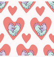 chick hug hearts seamless repeat pattern vector image vector image