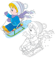 Child sleighing vector image vector image