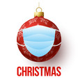 christmas ball with face mask isolated red vector image vector image
