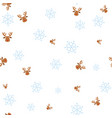 christmas deer and snowflake seamless pattern vector image