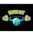 Earth Day Strong planet and sports barbell vector image vector image