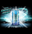 energy drink label ads with ice cubes on dark vector image vector image
