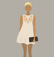 fashion model in the white embroidered dress vector image vector image
