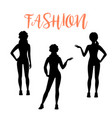 fashion woman silhouette in sporty style vector image vector image