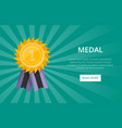 first place shiny golden medal with ribbon vector image vector image