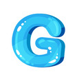 g blue glossy bright english letter kids font vector image