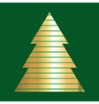 Gold And Green Christmas Tree Icon vector image