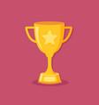 golden trophy cup flat design vector image