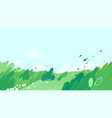 green fields with strong wind blowing out leaves vector image vector image