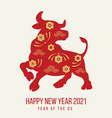 happy new year 2021 festive banner with ox red vector image vector image