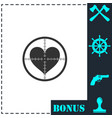hearth with crosshair icon flat vector image vector image