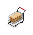isometric shopping cart with boxes isolated on vector image vector image