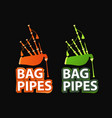 logos with great highland bagpipes vector image vector image