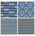 marine ropes seamless patterns set vector image vector image