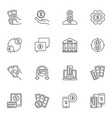 money minimal linear icons set cash vector image vector image