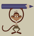 monkey with pensil vector image vector image