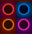 neon frame sign in shape a circle set vector image vector image
