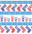 Nordic Christmas pattern with stockings stars sn vector image vector image